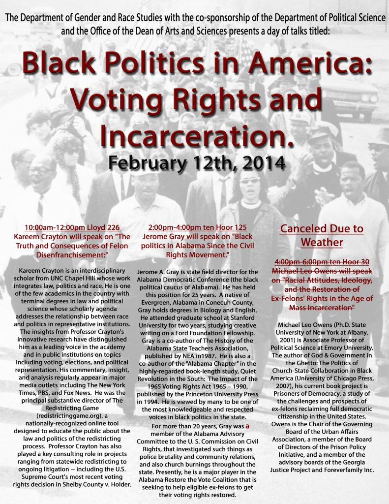 """Black Politics in America: Voting Rights and Incarceration"" poster"
