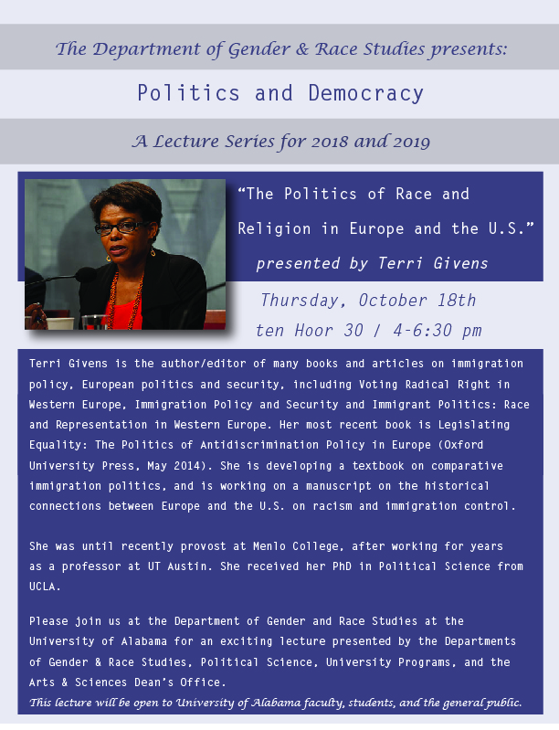 """""""The Politics of Race and Religion in Europe and the U.S."""" flyer"""