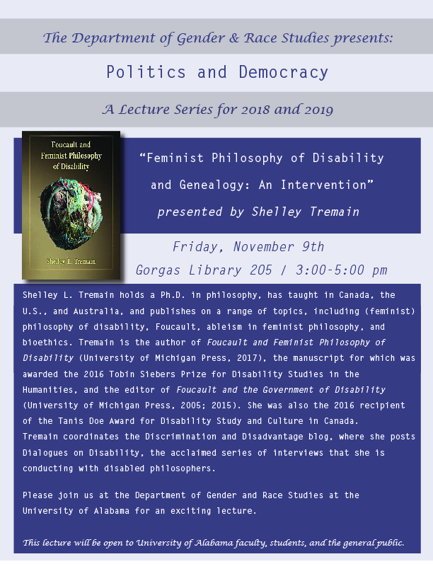 """Feminist Philosophy of Disability and Genealogy: An Intervention"" flyer"