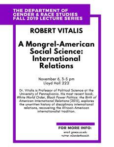 Robert Vitalis Lecture Flyer