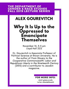 Alex Gourevitch Lecture Flyer